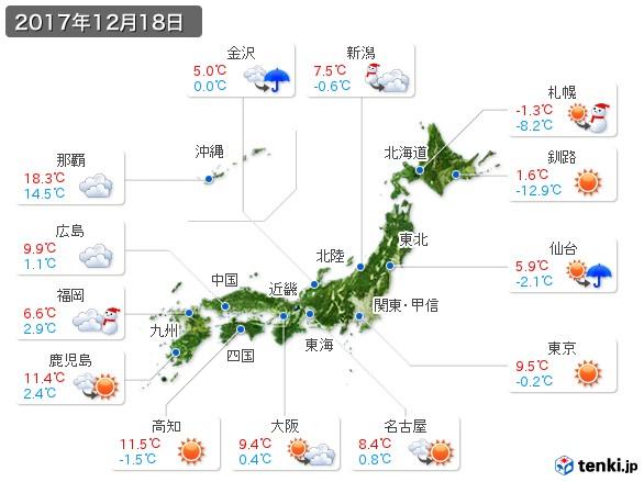(2017年12月18日の天気