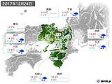 2017年12月24日の近畿地方の実況天気