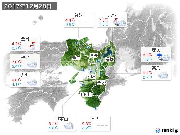 近畿地方(2017年12月28日の天気