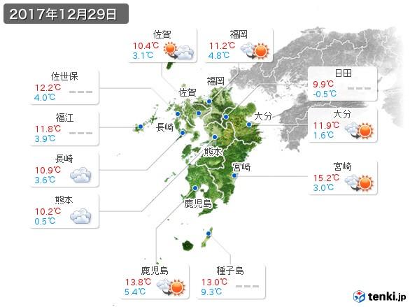 九州地方(2017年12月29日の天気
