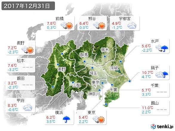 関東・甲信地方(2017年12月31日の天気