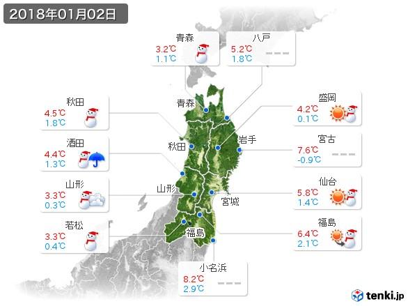 東北地方(2018年01月02日の天気