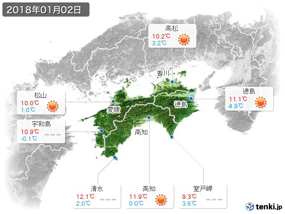 四国地方(2018年01月02日の天気