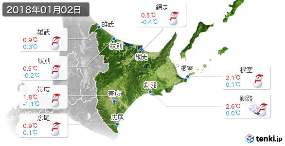道東(2018年01月02日の天気