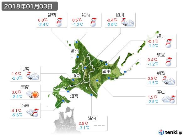 北海道地方(2018年01月03日の天気