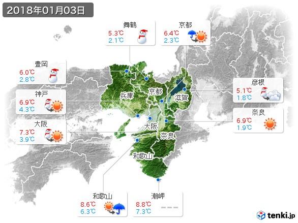 近畿地方(2018年01月03日の天気