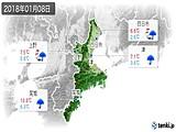 2018年01月08日の三重県の実況天気