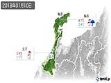2018年01月10日の石川県の実況天気