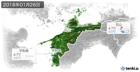 愛媛県(2018年01月26日の天気