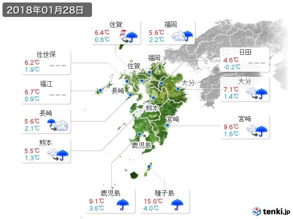 九州地方(2018年01月28日の天気