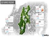 2018年01月29日の長野県の実況天気