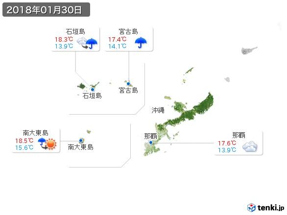 沖縄地方(2018年01月30日の天気