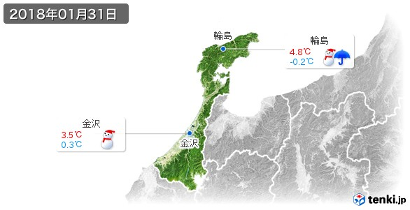石川県(2018年01月31日の天気