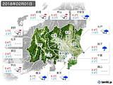 2018年02月01日の関東・甲信地方の実況天気