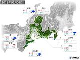 2018年02月01日の東海地方の実況天気