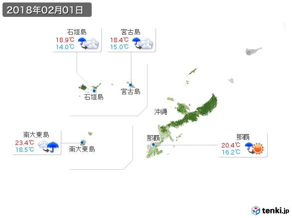 沖縄地方(2018年02月01日の天気