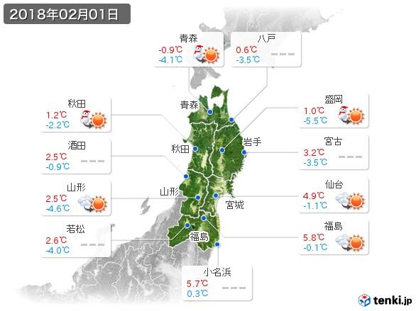 東北地方(2018年02月01日の天気