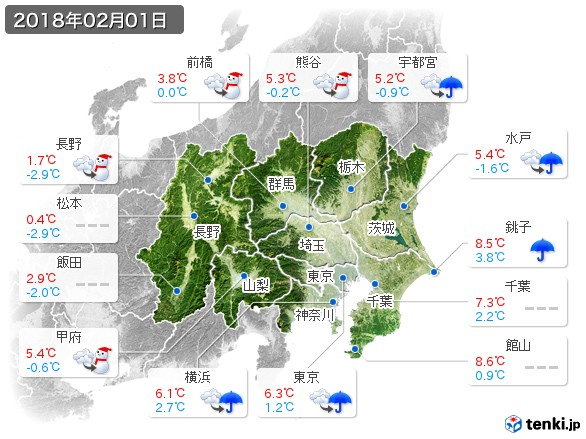関東・甲信地方(2018年02月01日の天気