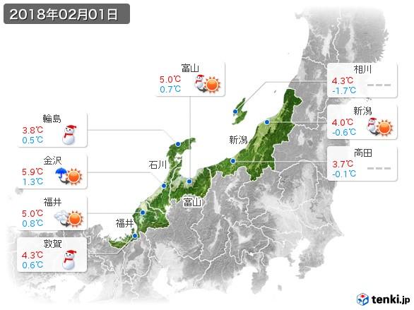 北陸地方(2018年02月01日の天気