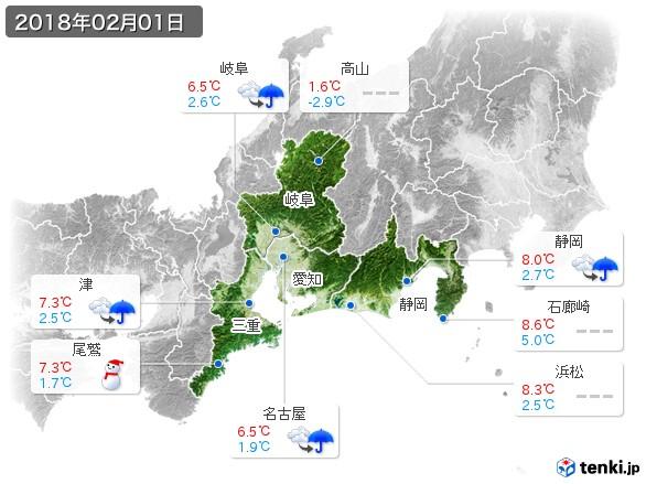 東海地方(2018年02月01日の天気
