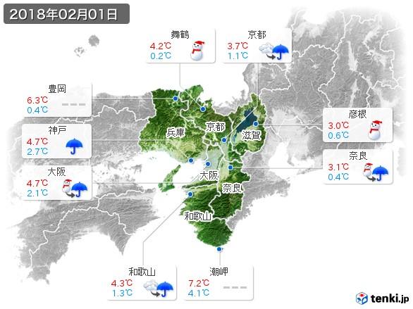 近畿地方(2018年02月01日の天気