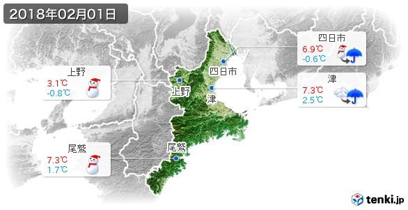 三重県(2018年02月01日の天気