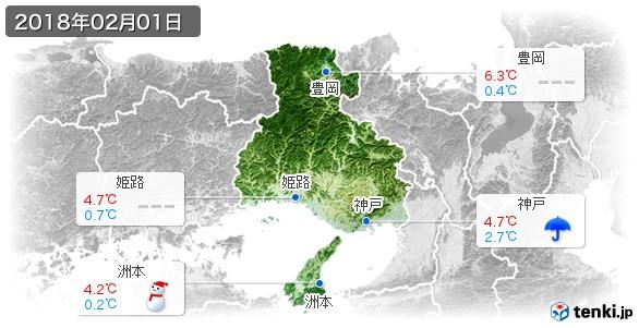 兵庫県(2018年02月01日の天気