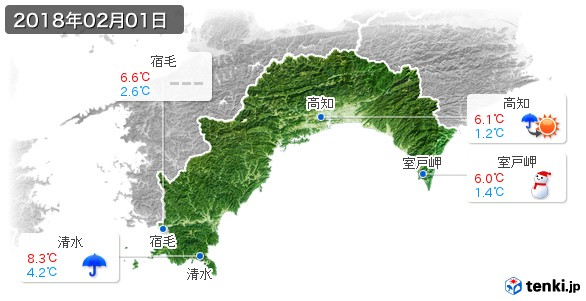 高知県(2018年02月01日の天気