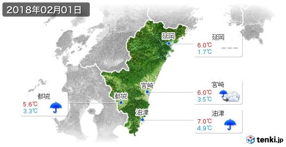 宮崎県(2018年02月01日の天気