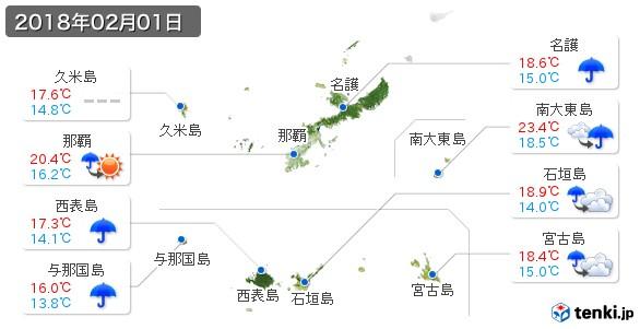 沖縄県(2018年02月01日の天気