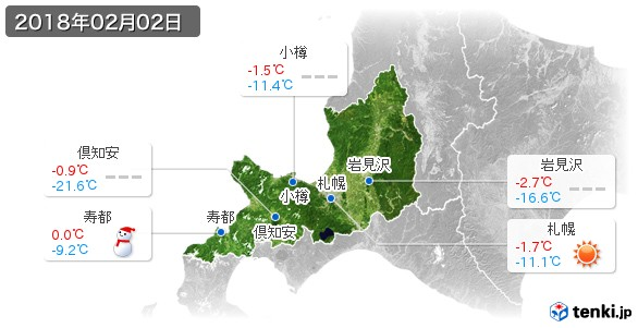 道央(2018年02月02日の天気