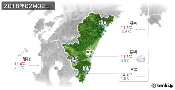 宮崎県(2018年02月02日の天気