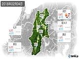 2018年02月04日の長野県の実況天気