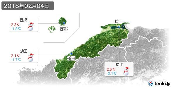 島根県(2018年02月04日の天気