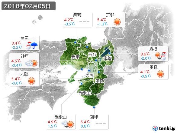 近畿地方(2018年02月05日の天気