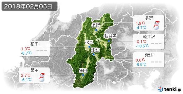 長野県(2018年02月05日の天気
