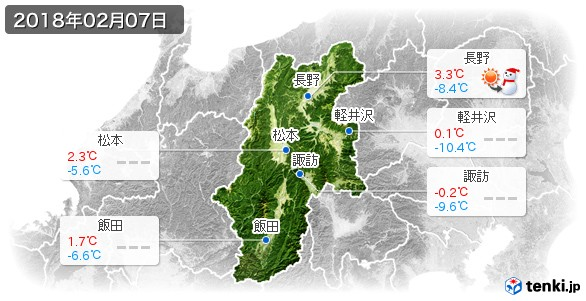 長野県(2018年02月07日の天気