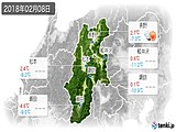 2018年02月08日の長野県の実況天気