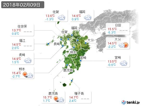 九州地方(2018年02月09日の天気