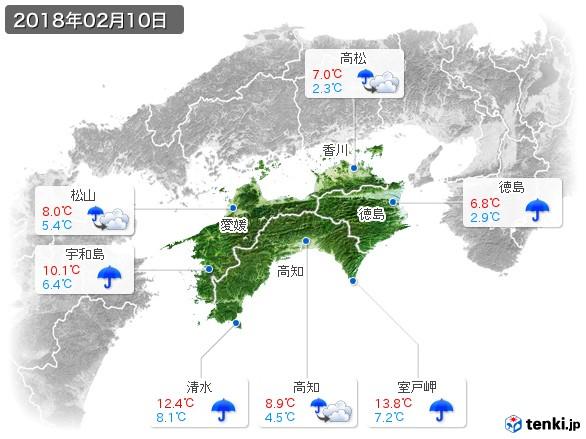 四国地方(2018年02月10日の天気