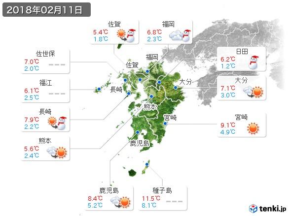 九州地方(2018年02月11日の天気