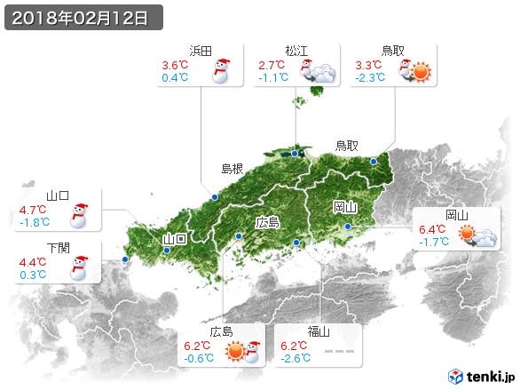 中国地方(2018年02月12日の天気