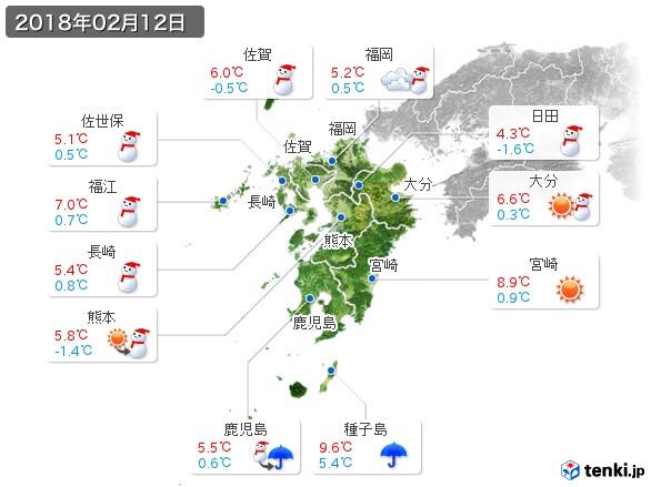九州地方(2018年02月12日の天気