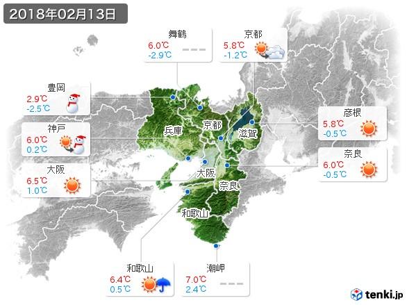 近畿地方(2018年02月13日の天気