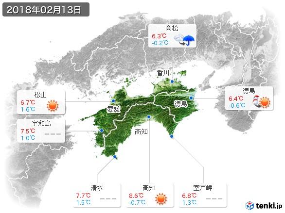 四国地方(2018年02月13日の天気