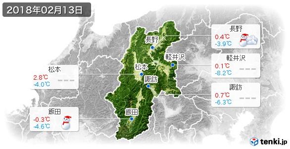 長野県(2018年02月13日の天気