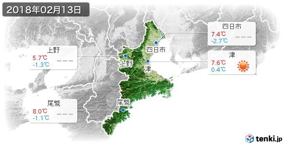 三重県(2018年02月13日の天気
