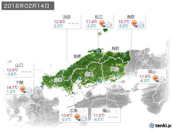 中国地方(2018年02月14日の天気