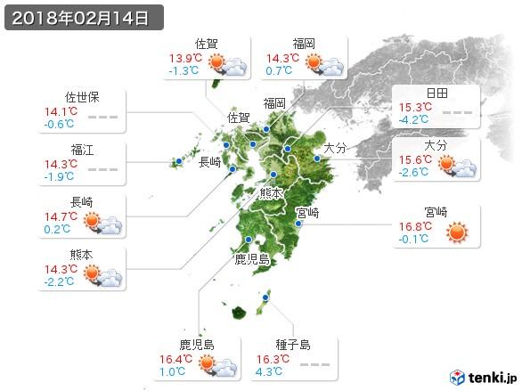 九州地方(2018年02月14日の天気