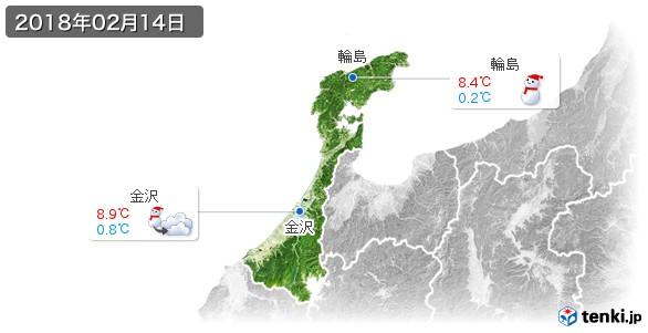 石川県(2018年02月14日の天気